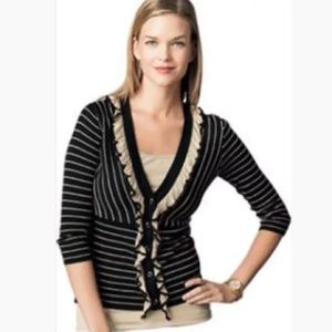CAbi The Flirt Ruffle Stripe Cardigan